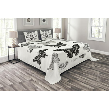 Butterfly Bedspread Set, Spring Arrangement of Hand Drawn Butterflies Modern Realistic Artwork, Decorative Quilted Coverlet Set with Pillow Shams Included, Black Grey and White, by Ambesonne
