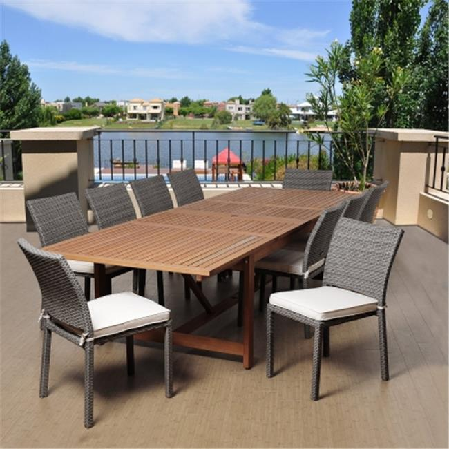 SC LEY-10LIB GROW Angelo 11 Piece Eucalyptus & Wicker Extendable Rectangular Patio Dining Set with Off-White Cushions