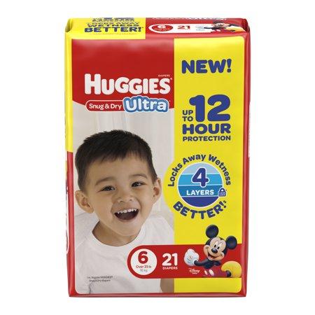 HUGGIES Snug & Dry Ultra Diapers, Size 6, 21 Diapers