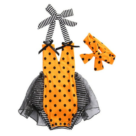 StylesILove Baby Girl Halloween Pumpkin Costume Bodysuit Tutu Skirt with Headband 2 pcs Set (100/12-18 Months, Black Polka Dot with Headband) (Pumpkin Head Halloween Dance)
