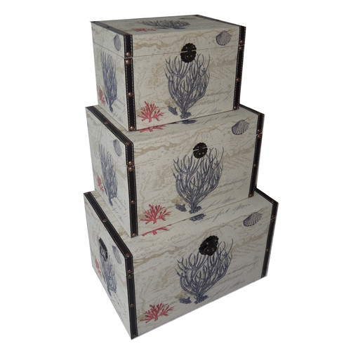 Cheungs 3 Piece Flat Top Keepsake Trunk with Coral Design Set