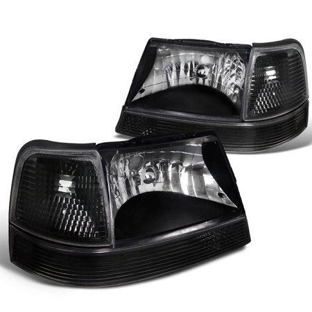 Spec-D Tuning For 1998-2000 Ford Ranger Headlights Black + Corner Lights Turn Signal Bumper Lamp (Left+Right) 1998 1999 2000