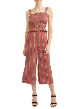 ad15e21d8113 Product Image Juniors  Striped Smocked Tank and Palazzo Pant Jumpsuit