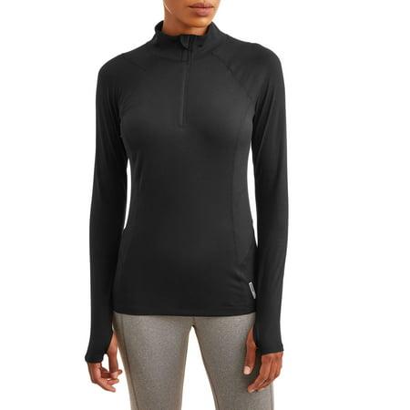 Women's Active 1/4 Zip Peached Jersey Mock Neck Pullover