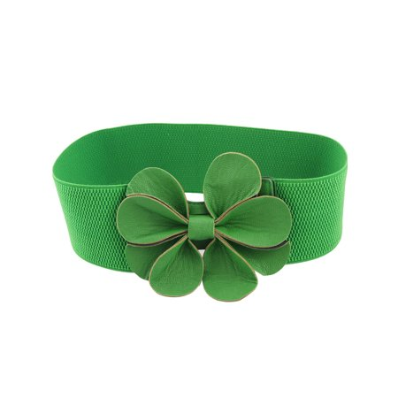 Faux Leather Floral Green Elastic High Waist Belt for Ladies