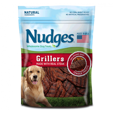 4 Porterhouse Steaks - Nudges Grillers Dog Treats, Made With Real Steak, 5 Oz