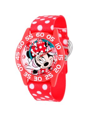 Minnie Mouse Girls' Plastic Case Watch, Printed Stretch Nylon Strap