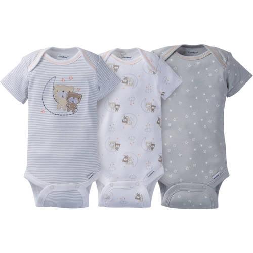 Gerber Newborn Baby Boy Assorted Short Sleeve Onesies Bodysuits 3-pack 3-9mos.