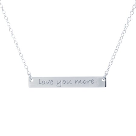 Sterling Silver Love you More Engraved Bar Necklace