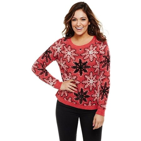 Bethany Mota Knit Snowflake Sweater Sequin A273810 (Snowflake Knitted Sweater)