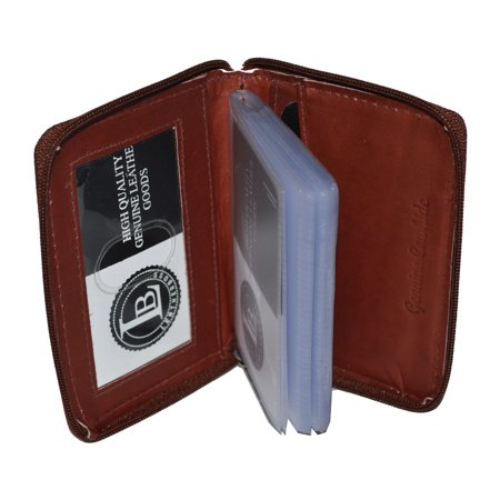 Credit Card Holder All around Zipper 24 pages genuine leather by Leatherboss Leather Business Card Stand