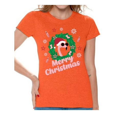 Awkward Styles Merry Christmas Tshirt Xmas Flamingo Shirt Funny Christmas Shirts for Women Santa Flamingo Ugly Christmas T Shirt Flamingo Gifts for Christmas Xmas Flamingo Party Outfit Xmas Flamingo