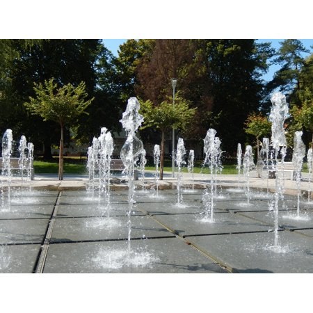 Wall Fountain Spout (Framed Art For Your Wall Spout Fountain Wet Water Parking Nature Summer 10x13)