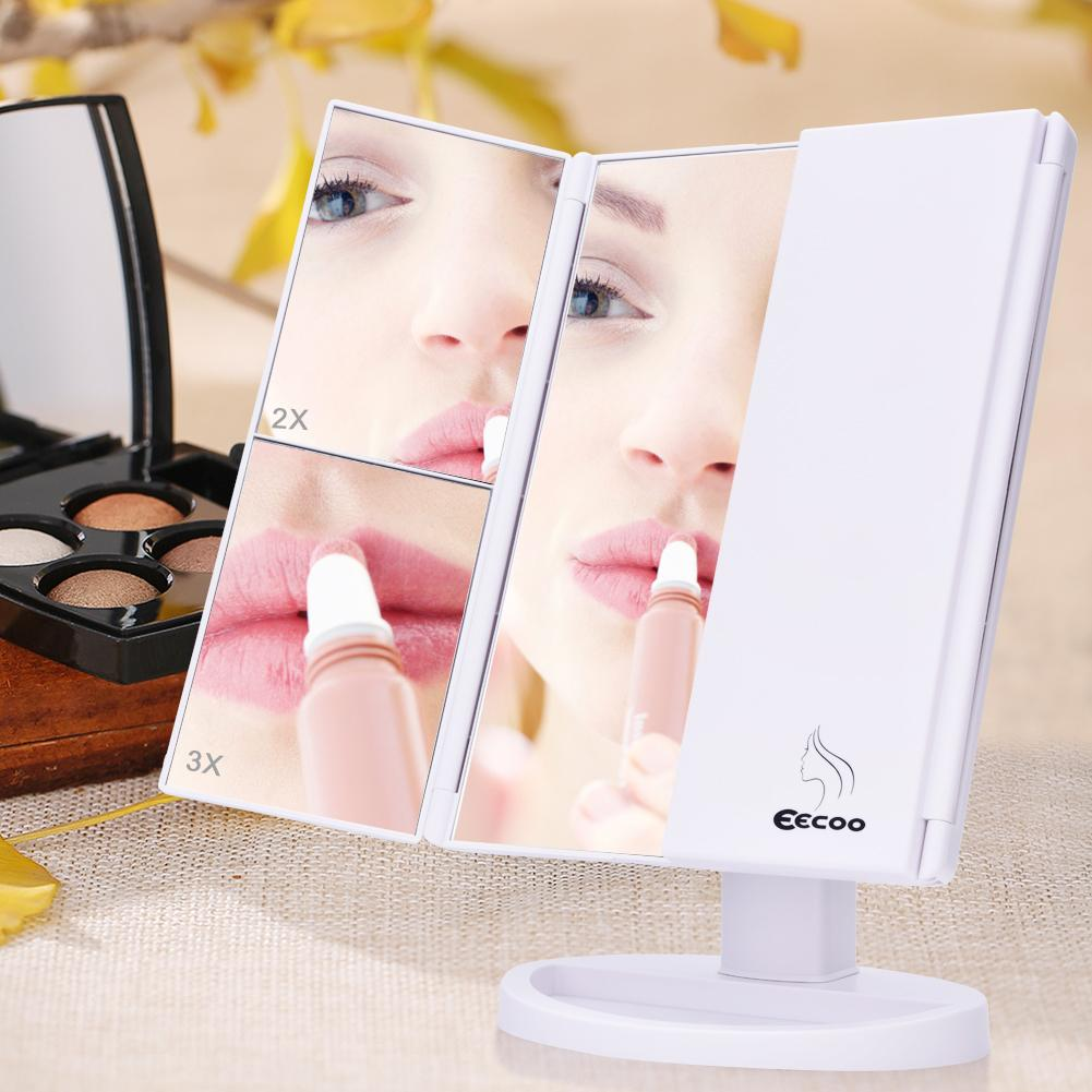 Lv. life LED Makeup Mirror, EECOO 21 LED lights Trifold Mirror 1X 2X 3X Magnification with Touchscreen 1