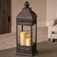 "San Nicola 28"" Triple LED Candle - Antique Bronze"