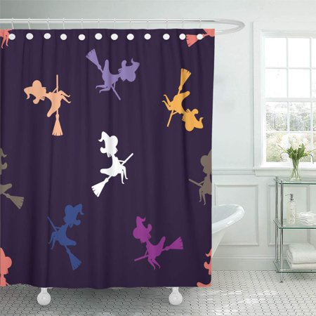 KSADK Witch Silhouette Flying On Broom Dark Blue Halloween Pattern Broomstick in Night Sky Shower Curtain Bath Curtain 66x72 inch - Halloween Window Silhouette Patterns