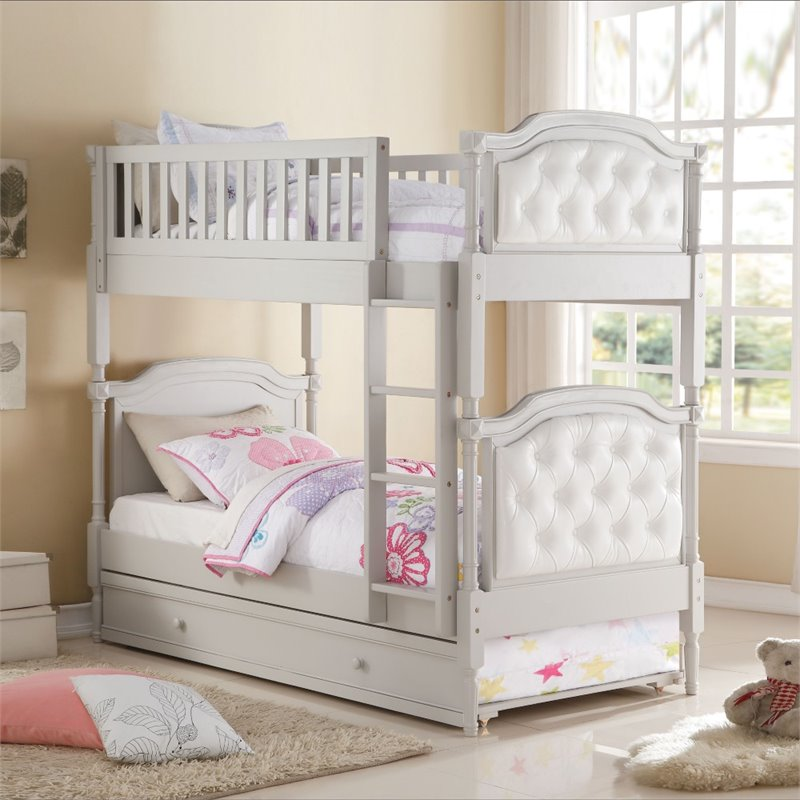 Bowery Hill Twin over Twin Bunk Bed in Gray and Pearl White