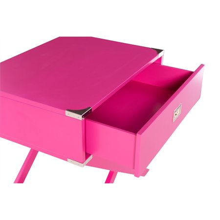 Linon Peggy X Base Wood Accent Table in Pink - image 2 de 11