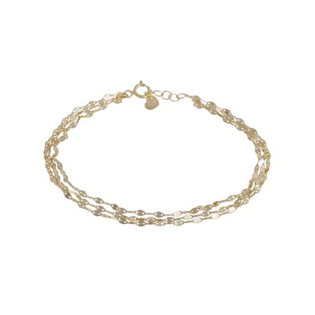 Three Strand Bracelet 10kt Yellow Gold 7+.05""