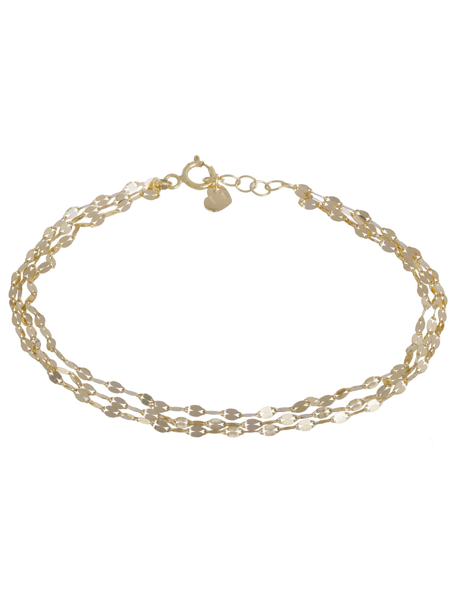 "Three Strand Bracelet 10kt Yellow Gold 7+.05"""