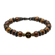 Stainless Steel Brown and Black Beads in Cross and Skull Bracelet with Lobster Clasp