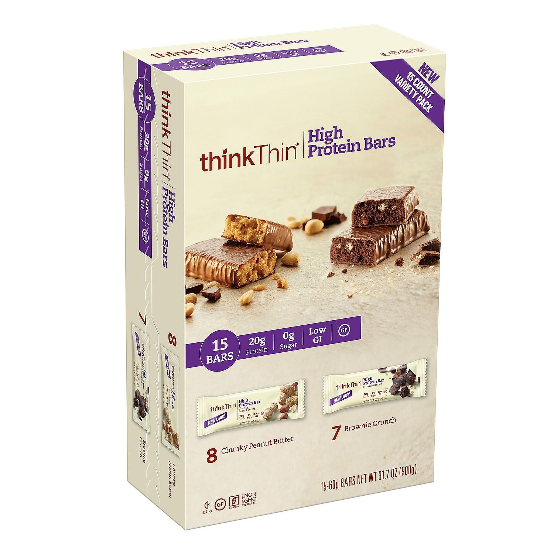 thinkThin High Protein Bar, Multi Pack Chunky PB & Brownie Crunch, 2.1 Oz