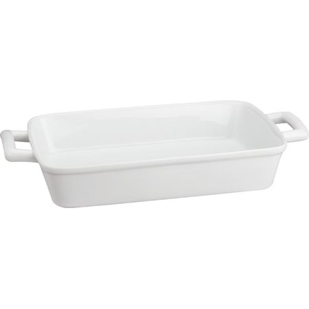 HIC Oblong Rectangular Baking Dish Roasting Lasagna Pan, Fine White Porcelain, 13-Inches x 9-Inches x