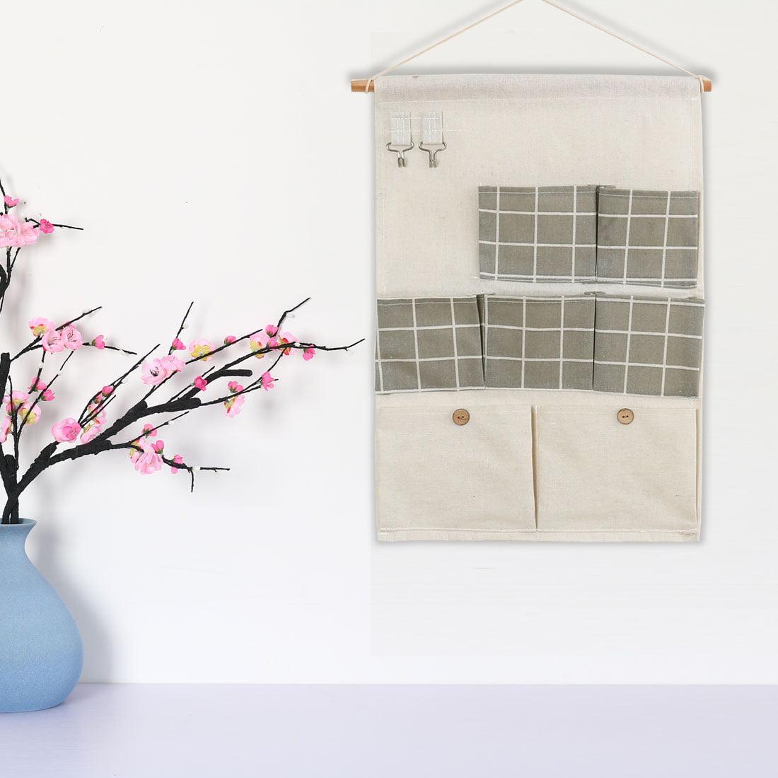 "Closet Foldable Hanging Storage Bag 19.5"" x 13.6"" Organizer Gray Square Pattern - image 6 de 7"