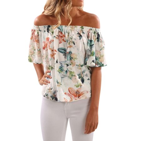 Zxzy Women Short Sleeve Off Shoulder Floral Printed Shirt Blouse Tops
