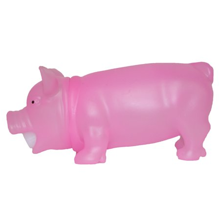 8 Inch Soft Plastic Squeezable Glow In The Dark Squealing Pig (Pink)