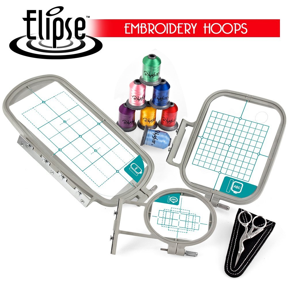 Elipse 3-Hoop Embroidery Package w/ Embroidery Thread and Scissors for Brother Embroidery Machines