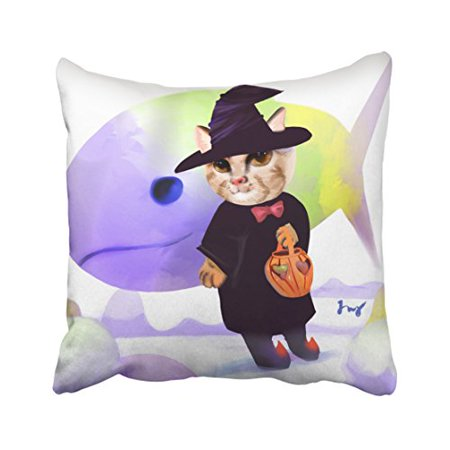 WinHome Cute Happy Halloween Cool Cat wear Witch Hat Shark Watercolor Polyester 18 x 18 Inch Square Throw Pillow Covers With Hidden Zipper Home Sofa Cushion Decorative Pillowcases - Cool Halloween Cover Photos