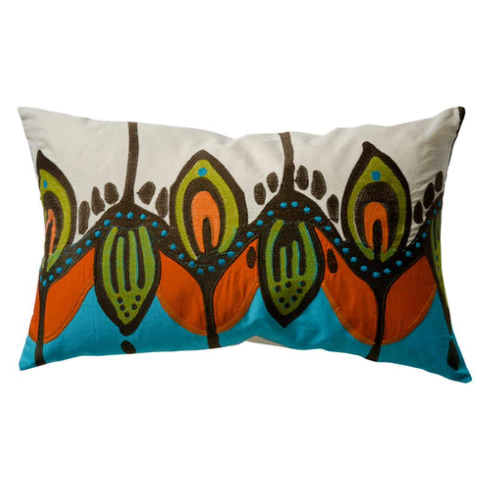 Koko Company 27 in. Coptic Oblong Pillow - Blue/Orange