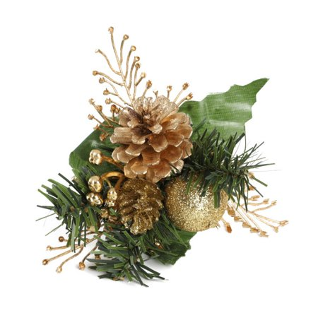 2-Pack Artificial Pine Stems Fake Pine Cone Gift Box Christmas Flowers Ornament Flower Arrangements Wreath Holiday Home Winter Decor ()