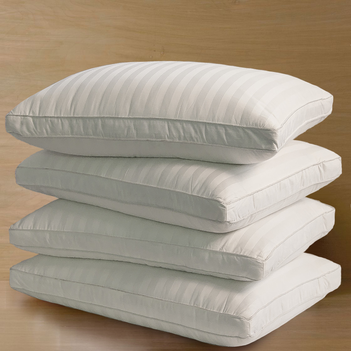 350T Damask Stripe Cotton Cover Optima-Loft Down Alt Jumbo Pillow 4-Pack