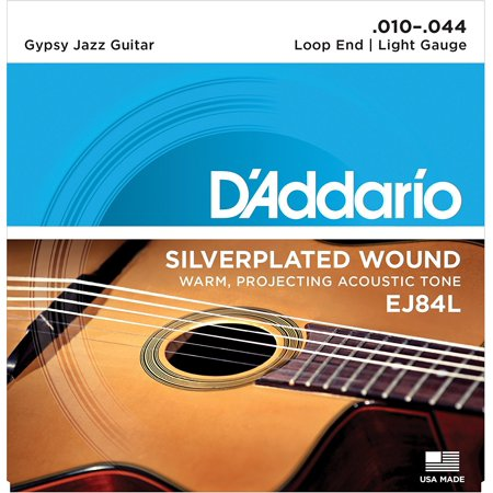 EJ84L Gypsy Jazz Acoustic Guitar Strings, Loop End, Light, 10-44, Designed and gauged for