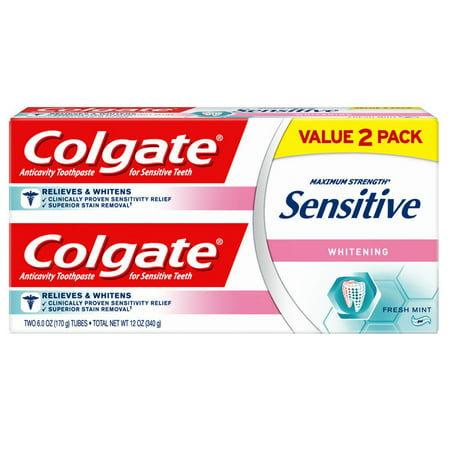 Colgate Sensitive Toothpaste, Whitening - Fresh Mint Gel Formula (6 ounce, Pack of 2)