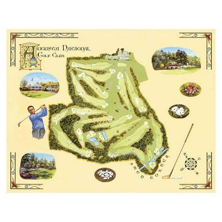 Golf Course Map, Augusta Art Print  By Bernard Willington