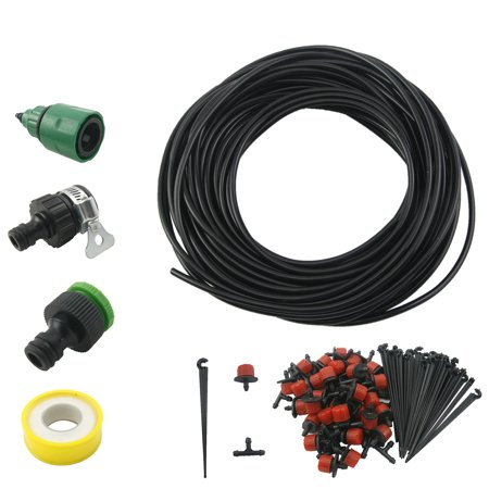 25m 82ft Micro Drip Irrigation System Kit Plant Self Watering Garden Hose Set