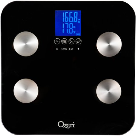 Ozeri Touch 440 lbs Total Body Bath Scale â Measures Weight, Fat, Muscle, Bone & Hydration with Auto Recognition and Infant Tare Technology