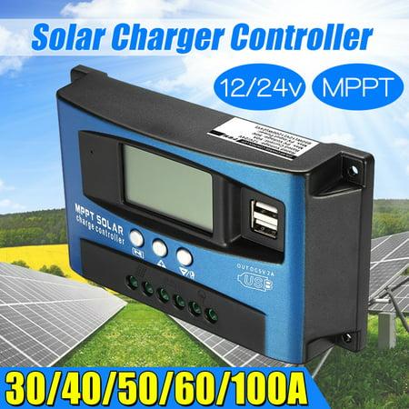 30-100A Solar Controller Panel MPPT 12V/24V Auto Regulator Dual USB Battery Focus Tracking Intelligent LCD Display (Dual Solar Panels)
