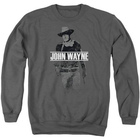 John Wayne Men's  Fade Off Sweatshirt Charcoal (John Deere Mens Sweatshirt)