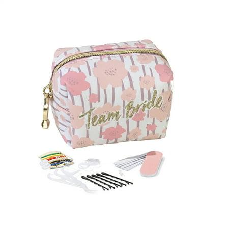 Bridesmaid Team Bride S.O.S Survival Emergency Kit 34 Pc Mini Travel Cosmetic, Pink Multi - Team Bride
