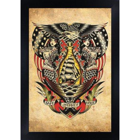 Safe Journey Home by Tyler Bredeweg Nautical Rockabilly Framed Tattoo Art Print - Nautical Framed Art