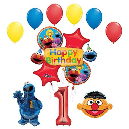 Cookie Monster and Ernie 1st Birthday Party Supplies and Balloon Bouquet - Monster 1st Birthday Party