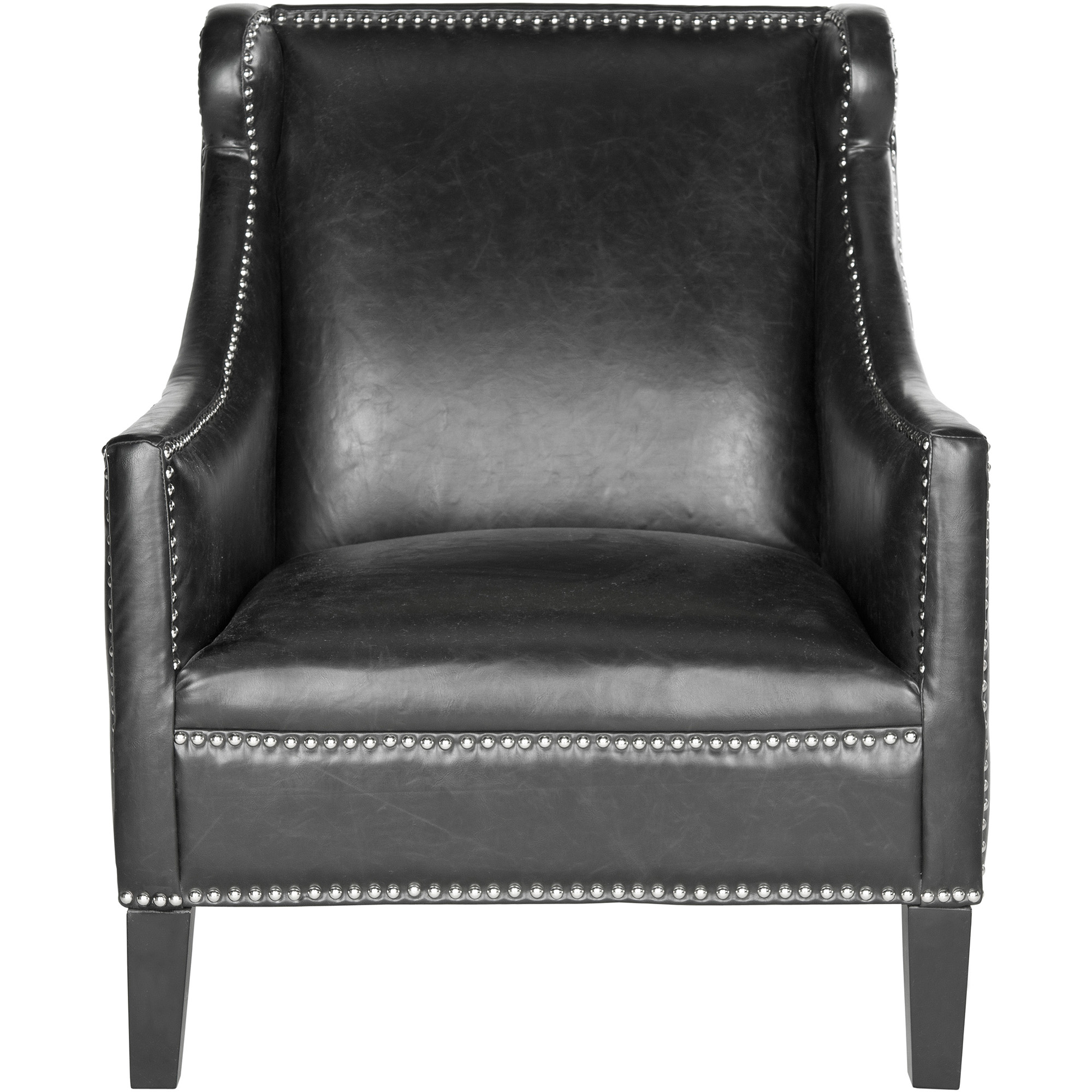 Safavieh Mckinley Bicast Leather Club Chair, Antique Black with Silver Nail Heads