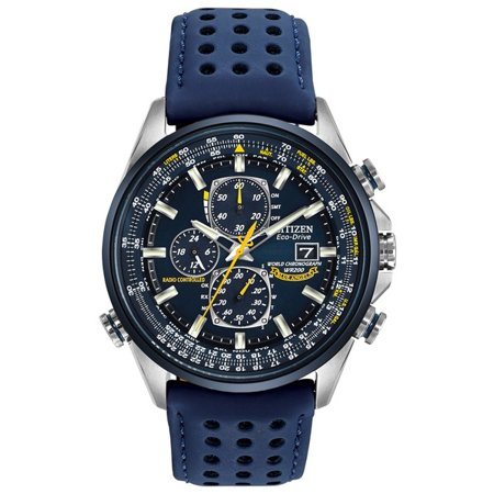 - Citizen Men's Eco Drive Blue Angels World Chronograph A-T AT8020-03L Blue Polyurethane Coated Leather Strap with Blue Dail Watch