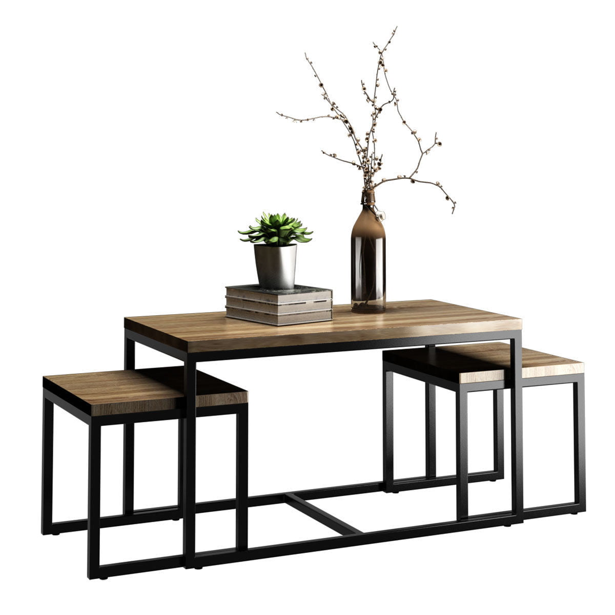 Costway 3 Piece Nesting Coffee Amp End Table Set Wood Modern