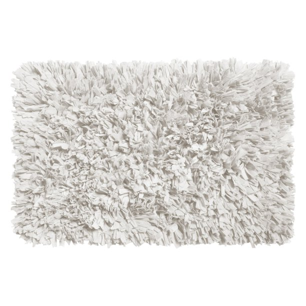 Soft Paper Cotton Poly Blend, White Fluffy Bathroom Rugs