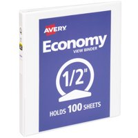 "Avery Economy View 3 Ring Binder, 0.5"" Round Rings, 1 White Binder"